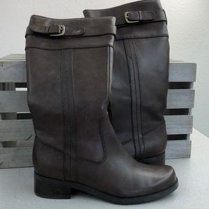 NEW Brown Leather Buckled Riding Boots Size 6.5 M